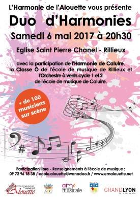 Concert « Duo d'Harmonies » avec l'Harmonie de Rillieux le samedi 6 mai 2017 à 20 heures 30