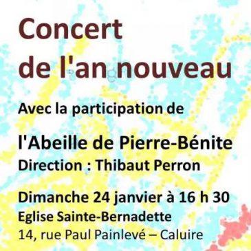 Concert de l'An Nouveau le 24 janvier 2016 à 16 heures 30 en l'Eglise Sainte-Bernadette de Caluire