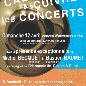 Concert d'ouverture de stage Caluire & Cuivre le 12 avril 2015 à 16 h, église Ste Bernadette, Caluire