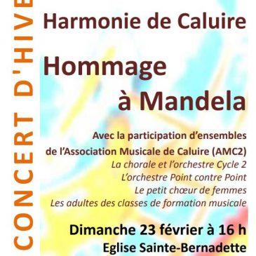 Concert d'hiver : hommage à Mandela, 23 février 2014 à 16 h, église Ste Bernadette, Caluire