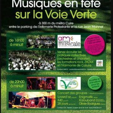 Participation à Musiques en fête sur la Voie Verte de Caluire – Concert à partir de 16 heures le 18 juin 2016