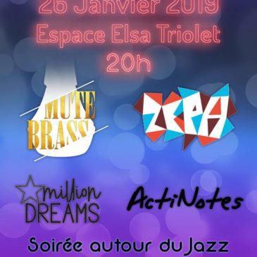 Soirée autour du Jazz le 26/01/19 par des musiciens de l'Harmonie