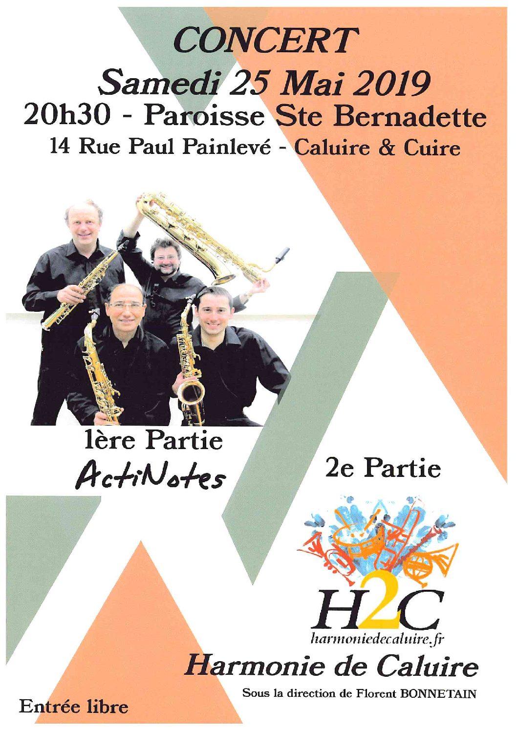 Prochain concert de l'Harmonie le samedi 25 mai à 20h30 avec Actinotes